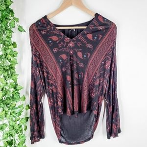 Lucky Brand Embroidered Boho Top XS